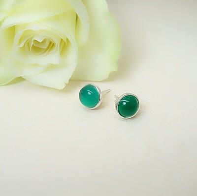 Silver ear studs - Green Onyx stones