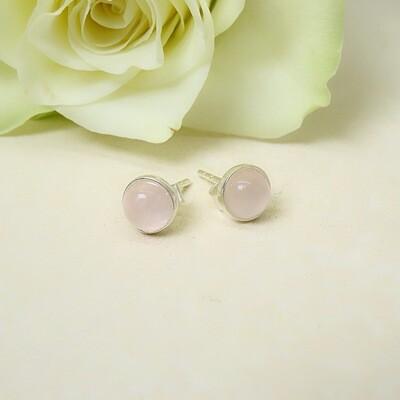 Silver ear studs - Pink Quartz stones