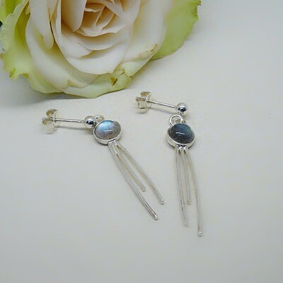 Silver earrings - Labradorite stones