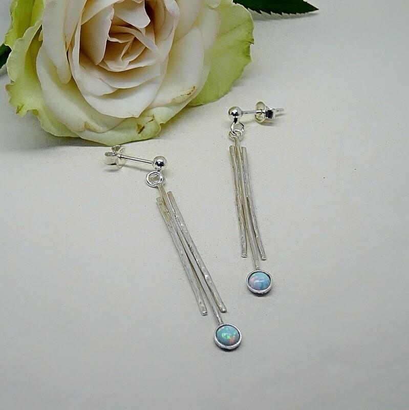 Silver earrings - White Opale stones