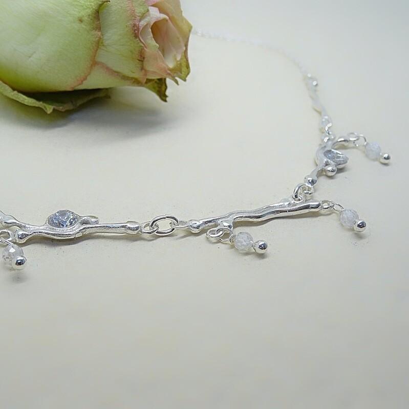 Silver necklace - Crystal stones - Pearls