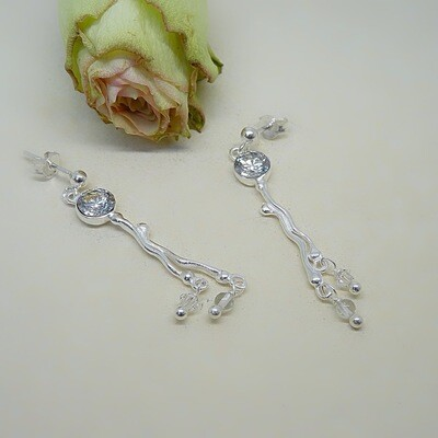 Silver earrings - Crystal stones