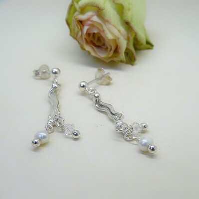 Silver earrings - Crystal and freshwater pearls