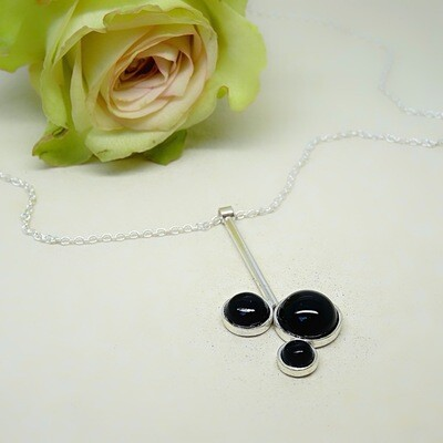 Silver pendant - Black Onyx stones