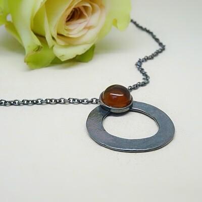 Silver pendant - Amber stones