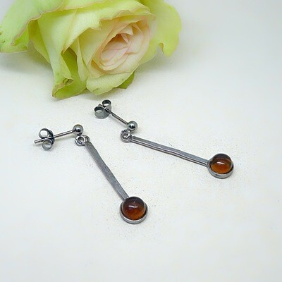 Silver earrings - Amber stones