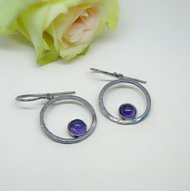 Silver earrings - Amethyst stones