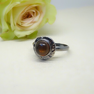 Silver ring - Amber stone