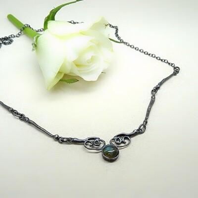 Fairytale silver necklace - Labradorite stone