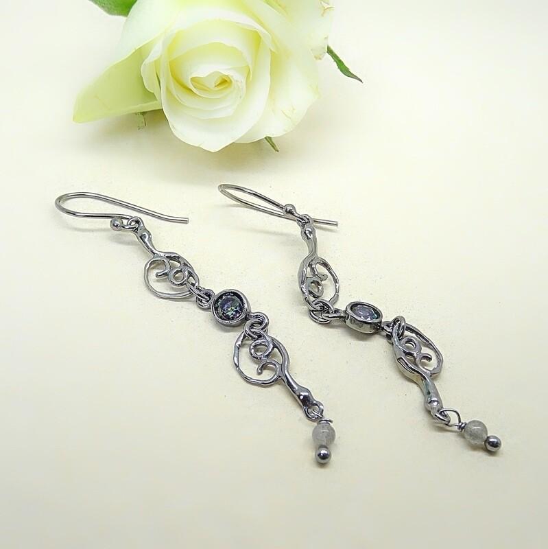 Silver Earrings - Cubic Zirconia stones