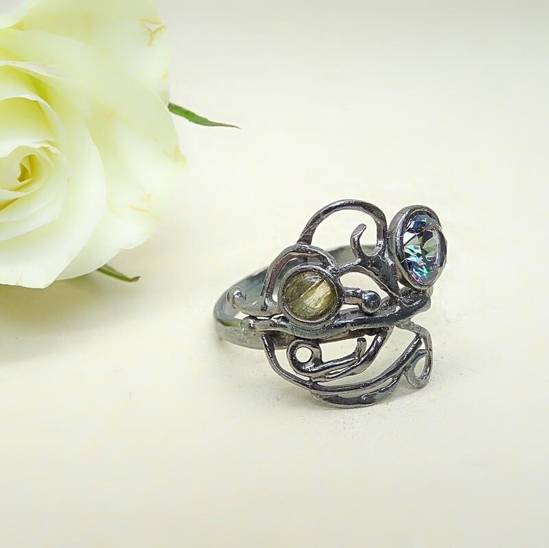 Silver ring - Labradoriet stones