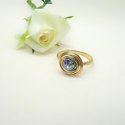 Silver gold-plated ring - Paradise Shine Swarovski