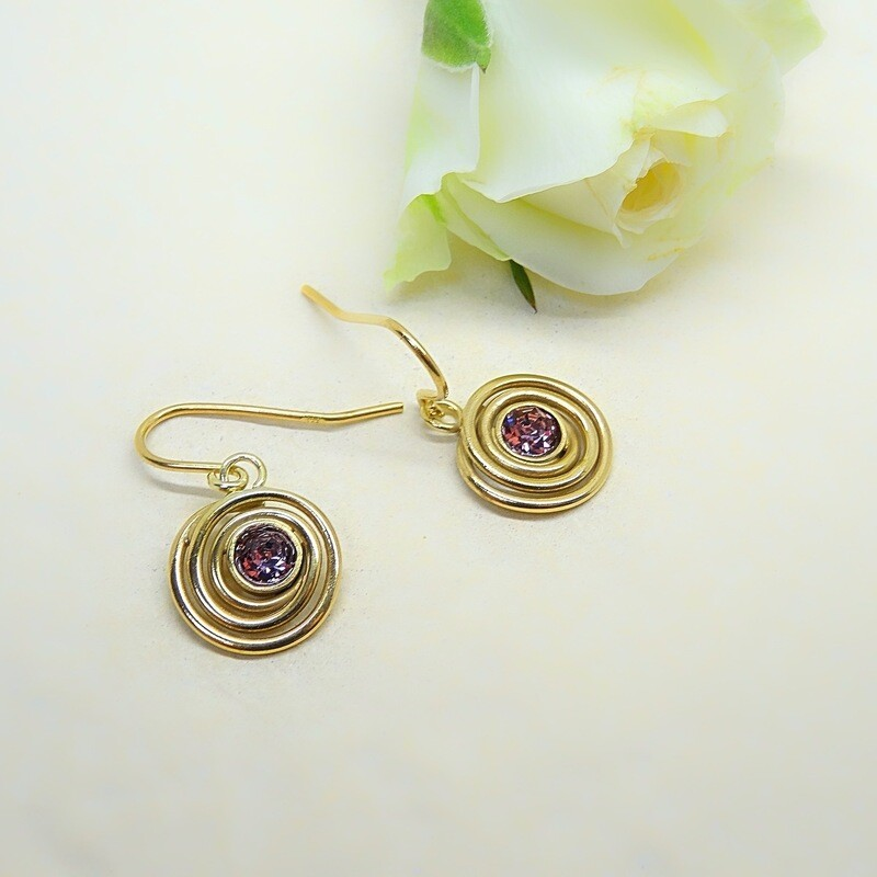 Gold-plated earrings - Antique Pink Swarovski
