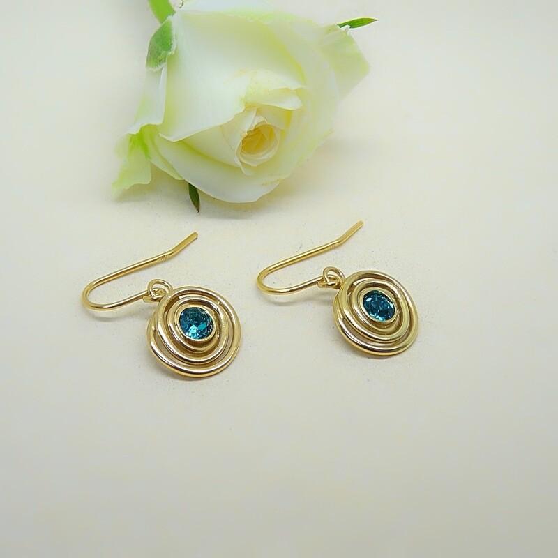 Gold-plated earrings - Blue Zircon Swarovski