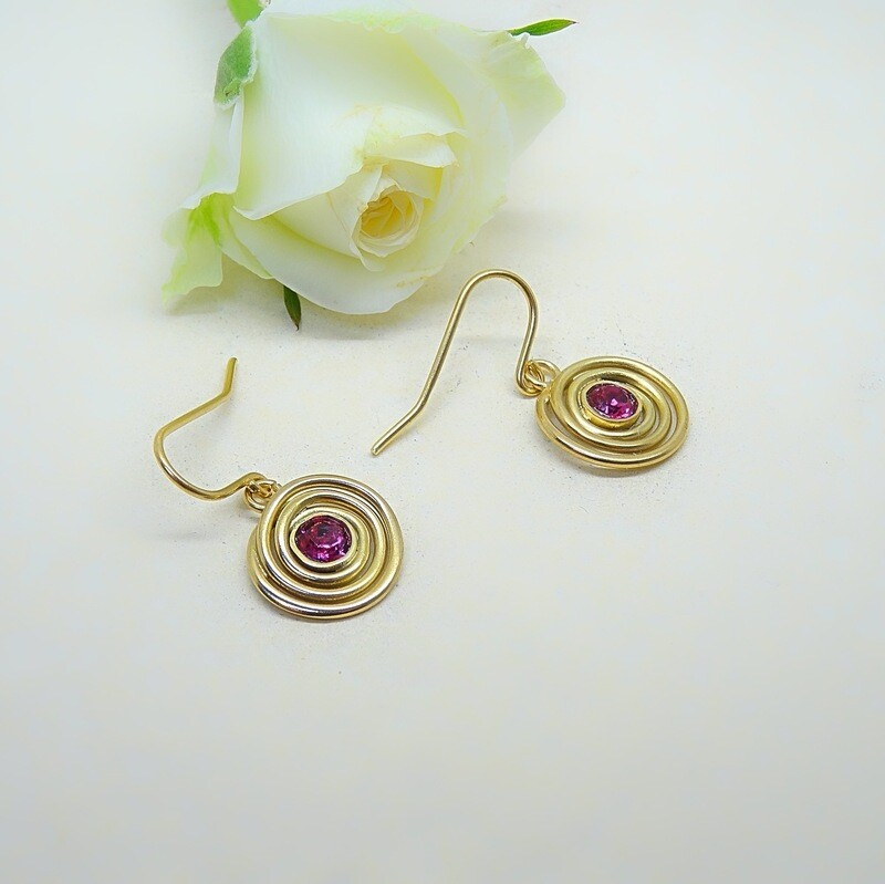 Gold-plated earrings - Fuchsia Swarovski