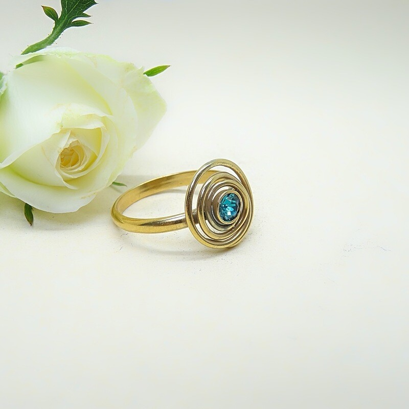 Silver gold-plated ring - Blue Zircon Swarovski