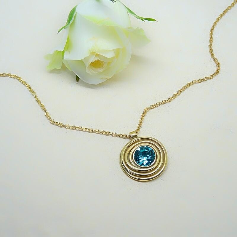 Gold-plated pendant - Blue Zircon Swarovski