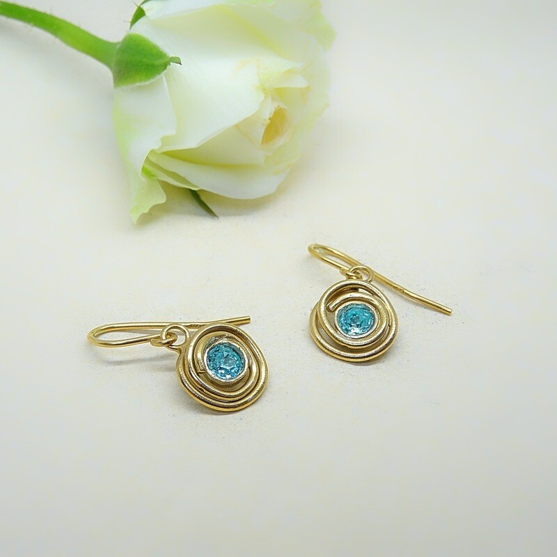 Gold-plated earrings - Light Turquoise Swarovski