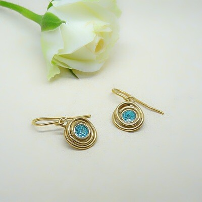 Gold-plated earrings - Light Turquoise Swarovski
