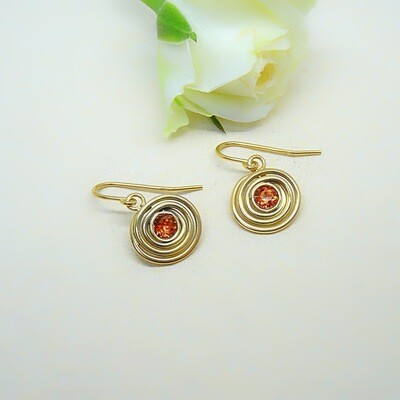 Gold-plated earrings - Tangerine Swarovski