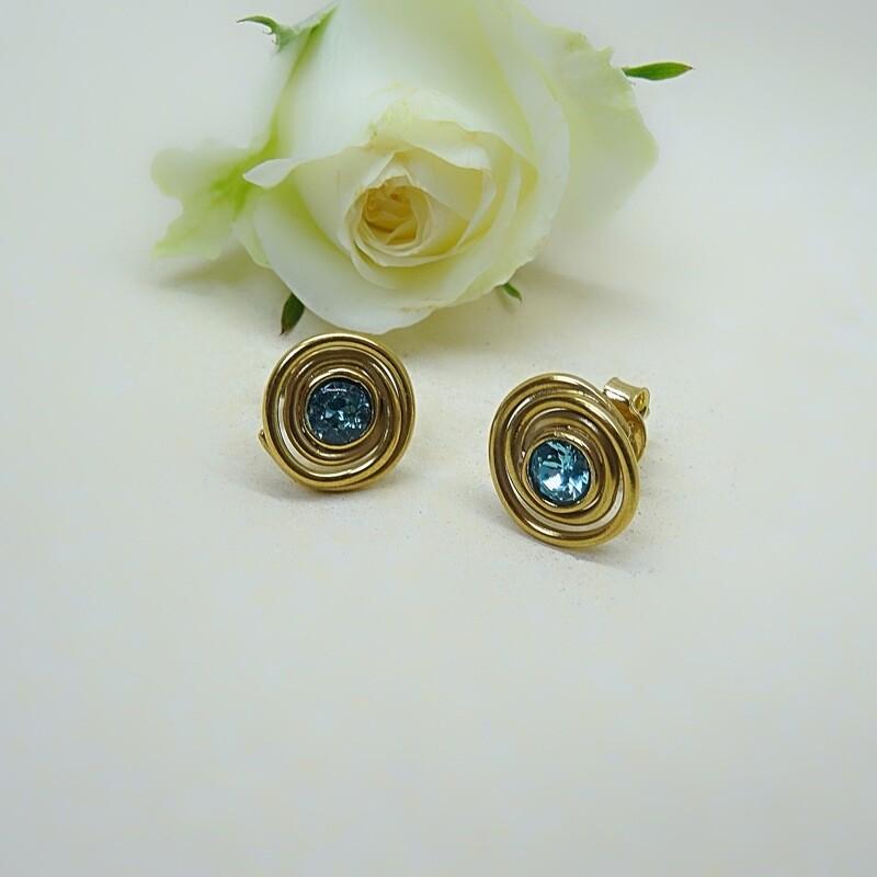 Gold-plated ear studs - Light Turquoise Swarovski