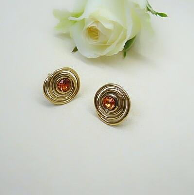 Gold-plated ear studs - Tangerine Swarovski