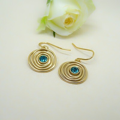 Gold-plated earrings - Blue Zircon Swarovski