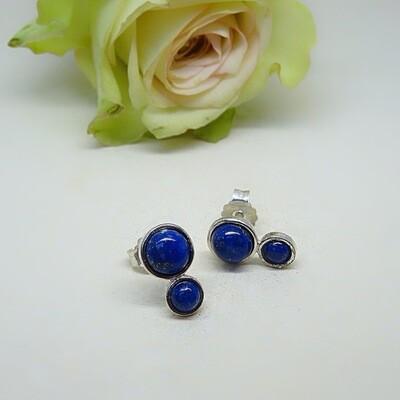 Silver ear studs - Lapis Lazuli gemstones