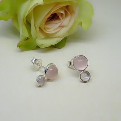 Silver ear studs - Pink Quartz gemstones