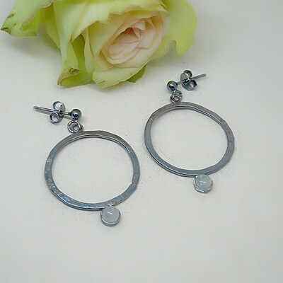 Silver earrings - Aquamarine gemstones