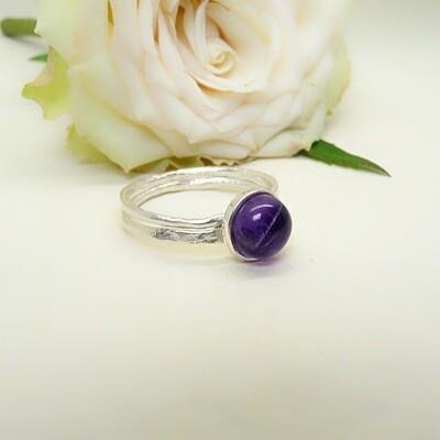 Silver ring - Amethyst stone