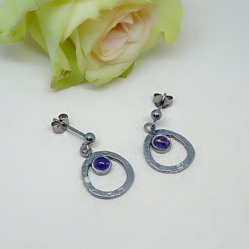 Silver earrings - Amethyst gemstones