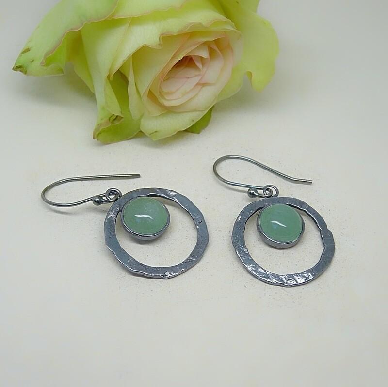 Silver earrings - Jade gemstones