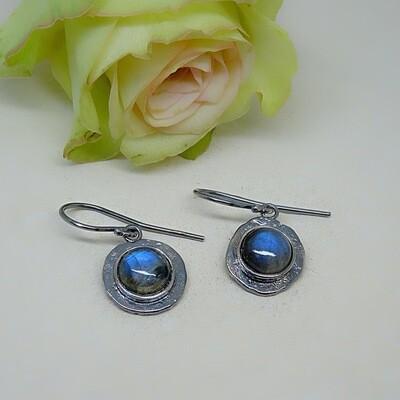 Silver earrings - Labradorite gemstones