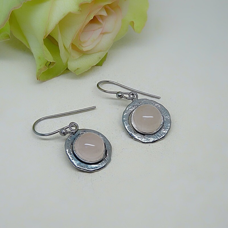 Silver earrings - Pink Quartz gemstones