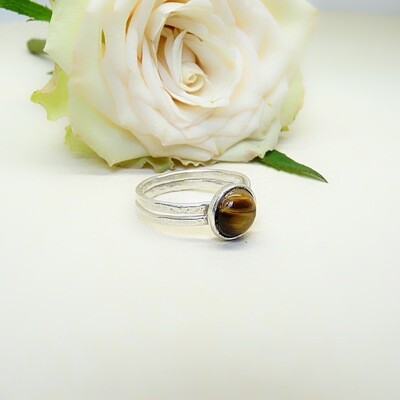 Silver ring - Tiger Eye stone