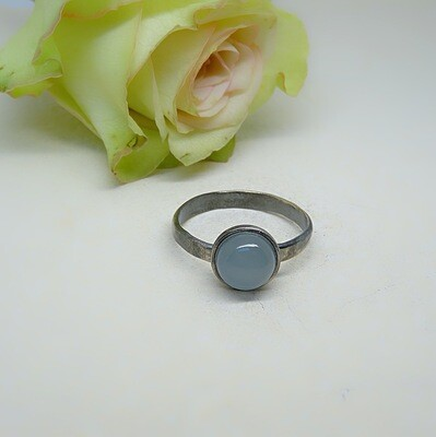 Silver stack of rings - Aquamarine stones