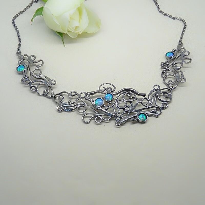 Silver pendant - Blue Opal gemstone