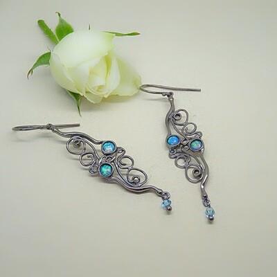 Silver earrings - Blue Opal gemstones
