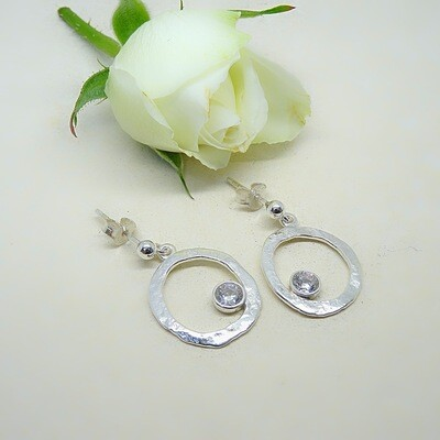 Silver earrings - crystal cubic zirconia