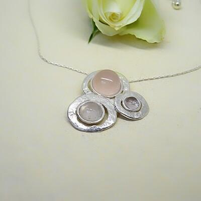 Silver pendant - Pink Quartz