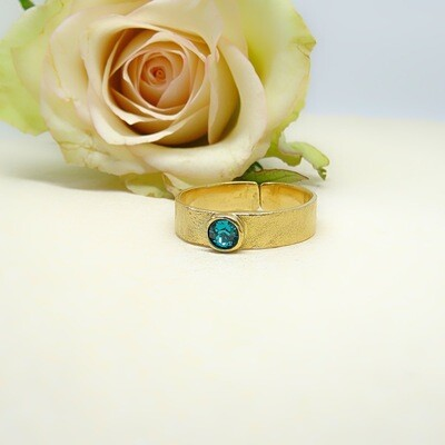 Silver gold-plated ring - Blue Zircon Swarovski