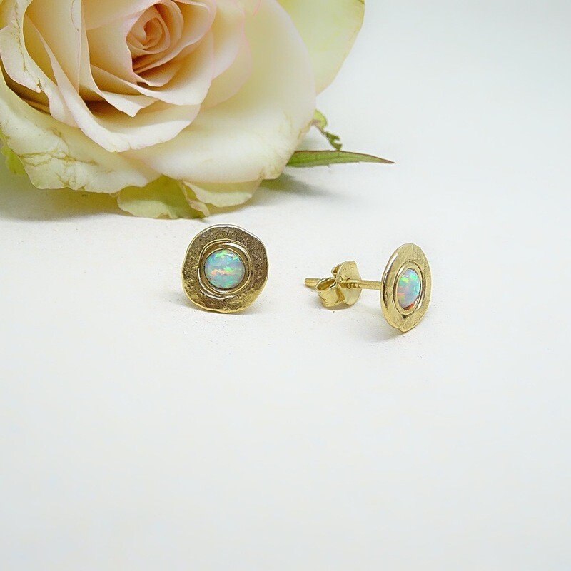 Gold plated earrings - White opal