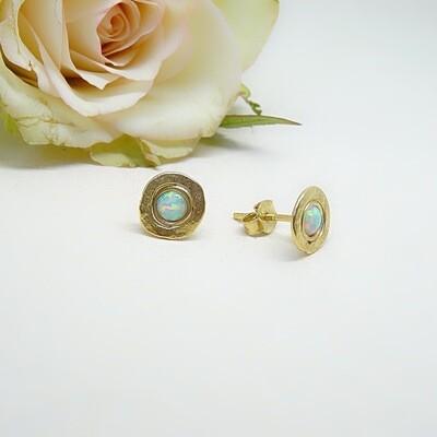 Gold plated earrings - White opal