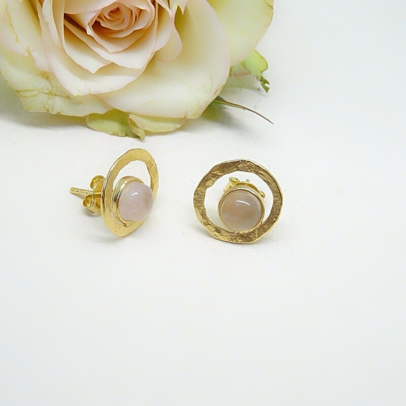 Gold plated earrings - Pink Quartz