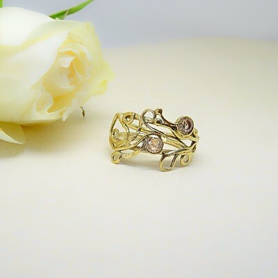Silver plated ring - Citrine cubic zirconia