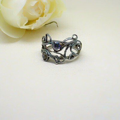 Silver ring - Labradorite cubic zirconia