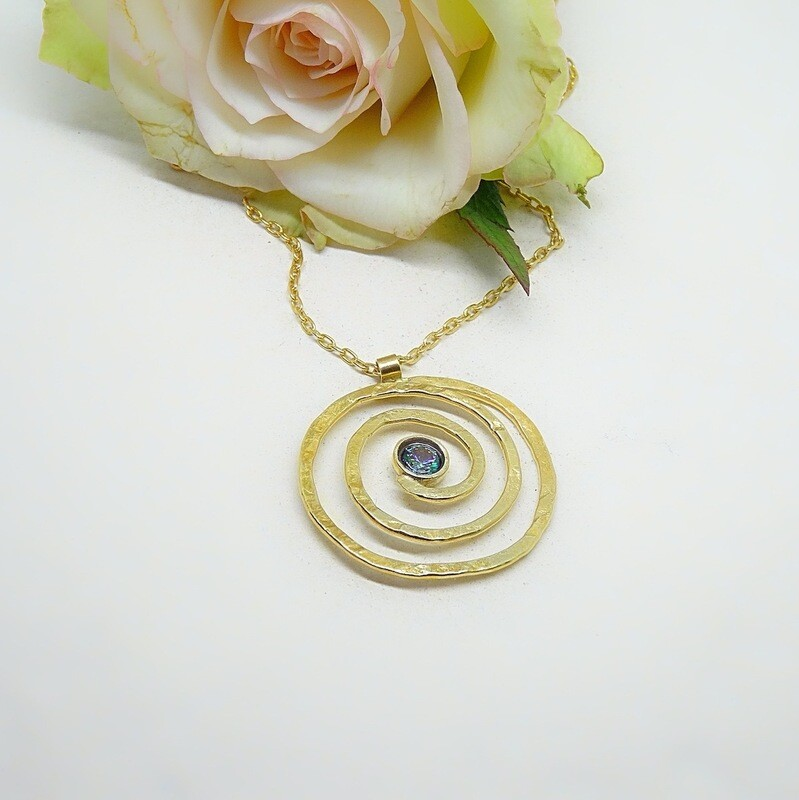 Gold plated silver pendant - Mistic zirconia