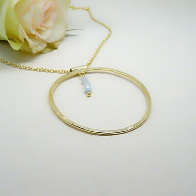 Gold plated silver pendant - Aquamarine