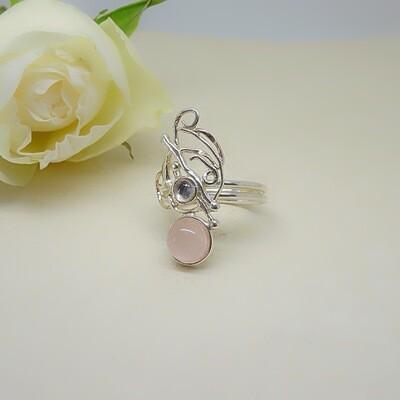 Silver ring - Pink quartz
